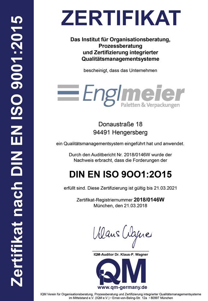Zertifikat DIN EN ISO 9001:2015